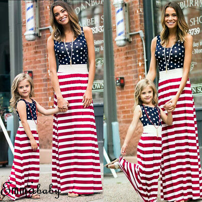 USA Mother Daughter Match Fourth of July Clothes Mom Girls Summer Parent Dress