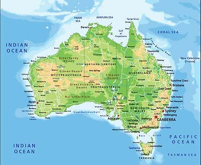 Large Australian Full details map city and boundaries poster home decor