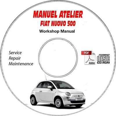 NUOVA 500 Manuel Atelier CDROM FIAT Revue technique Expédition - Inclus, Suppor