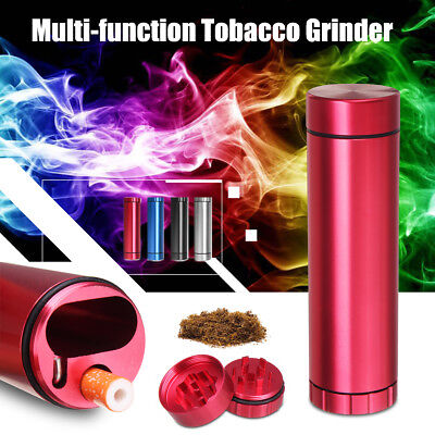 Aluminum Tobacco Grinder Herb Dug Out Pipe Tube Storage Room Crusher Portable