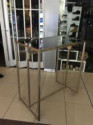 Shop Garment Display Rack Gondola w Tinted Glass Store Furniture Commercial