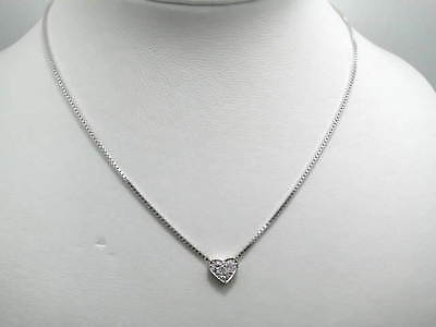 0,55Ct Brillant Herz Design Collier In 585/000 Weissgold 40Cm Luxus Pur Z720