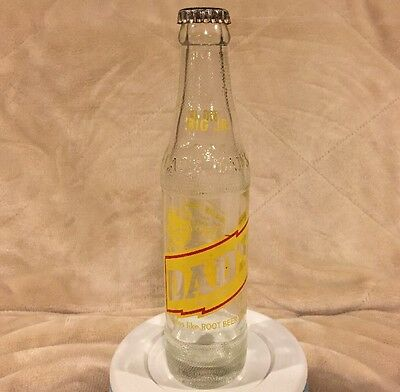VTG Dads Root Beer Family Big Jr Size 7 oz Soda Pop Clear Glass Bottle with Cap