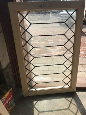 SG 2314 geometric design leaded glass window 22.25 x 34