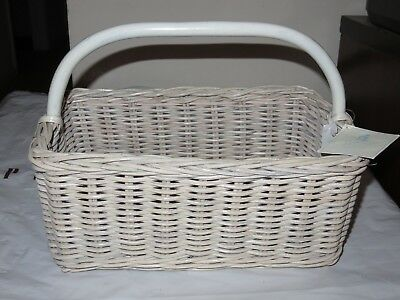Pottery Barn Kids WEATHERED WHITE SABRINA DIAPER CADDY NURSERY BASKET WITH LINER