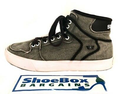 """ad2176a19d Supra Men's Grey Canvass """"Vaider"""" Lace Up Trainers Skate Shoes Size 9.5"""
