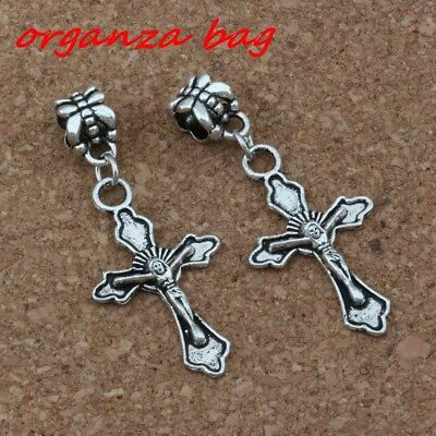 10pc Dangle Ancient silver Cross Charm Big Hole Bead Fit European Charm Bracelet