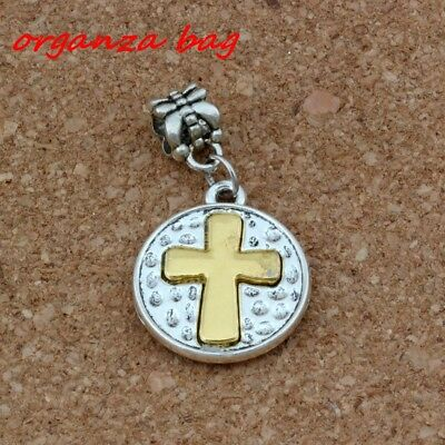 10pcs Dangle Ancient silver Cross Charm  Fit European Charm Bracelet Jewelry