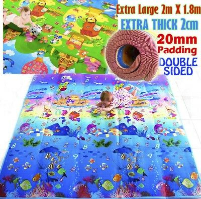 XXL Double Sided 20mm Thick Baby Kids Play Mat 2m