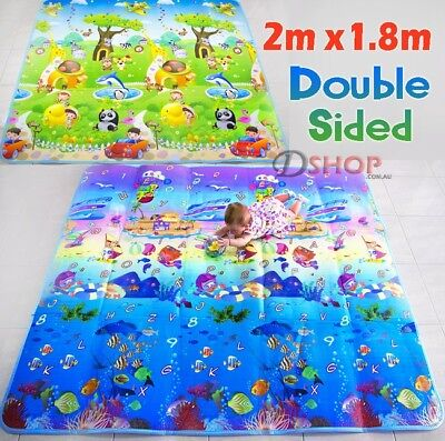 2m Double Sided Ocean Alphabet And Animal Fun Baby Kids Play Mat