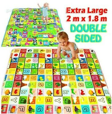 2m Double Sided Large Alphabet And Numbers Baby Kids Play Mat