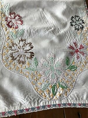 Vintage Linen Dresser Scarf Embroidered Table Runner