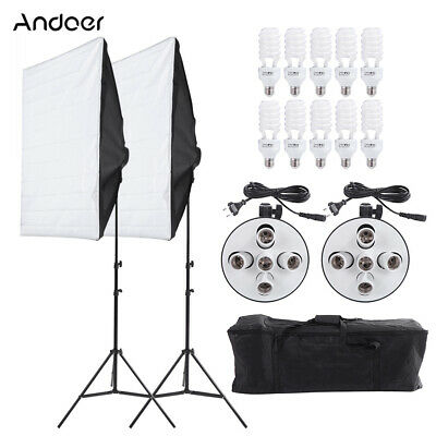 Photo Studio Photography 2 Softbox Light Stand Continuous Lighting Kit etc I9Z7