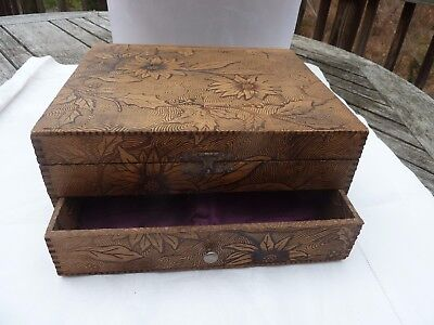 Wm. A. Rogers Poinsettia Pattern Pyrography Lined Wood Burn Box Hinges Vintage