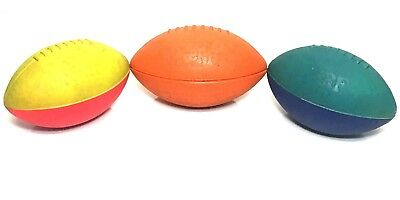 Vintage Lot Of 2 Parker Brothers Official Nerf Footballs Red/Yellow & Teal/Blue