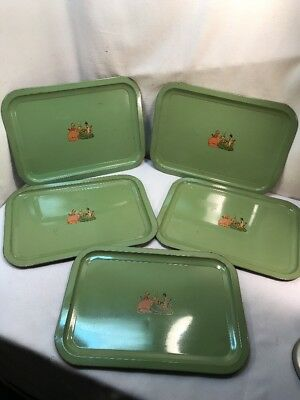 Vtg 5pc 1940-50's Green SOUTHERN BELLE TEA PARTY Cottage Metal Serving Trays