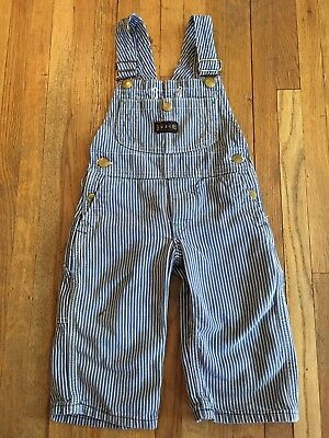 VTG Sanforized Big Smith railroad Hickory striped Bib Overalls Youth Boys