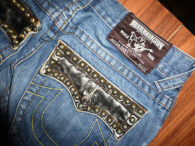 7d3db8f05 Rare Mens True Religion Ricky Leather Studded Pocket Straight Jeans Size  30X33