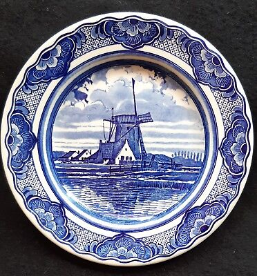 "Vintage Delft Blue Ot.s Plate 7"" Holland Windmill Scene. Earthenware"