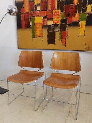pair vintage molded plywood stacking side dining chairs steelcase