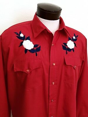 """Vintage """"silver Spur"""" Western Wear Embroidered Flowers Rockabilly Red, Size L"""