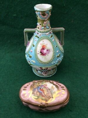 Sevres-marked pill box with a small antique Continental hand-painted vase