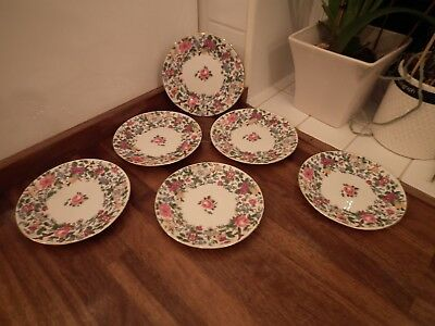 """Crown Staffordshire Pattern F7117 Thousand Flowers - 6.25"""" Side Plates Qty 6"""
