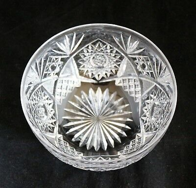 ANTIQUE AMERICAN BRILLIANT CUT GLASS CRYSTAL ABP berry finger bowl