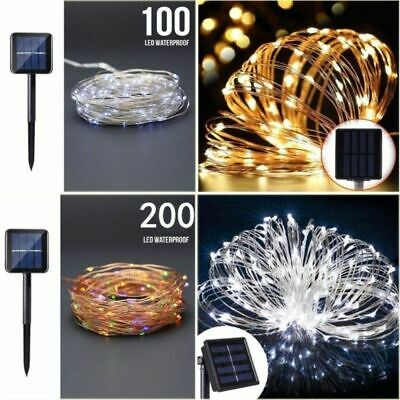 New 100/200 LED Solar Fairy Light Copper String Wire Strip Lighting Party Garden