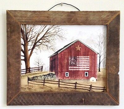 """Primitive Country Rustic Vintage Style """" FLAG BARN """" Tobacco Lath Framed Art"""