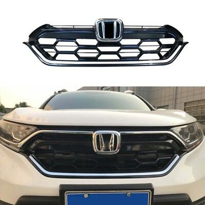For Honda CRV CR-V 2017-2018 Sports Versio Glossy Black Front Grill Grille Trim