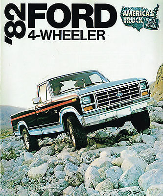 1982 FORD 4 Wheel Drive PickUp Truck Brochure w/Color Chart:F Series,150,LARIAT