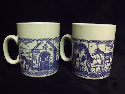 Pretty Pair Horse Mare, Foal and Pastoral England Scenes Ironstone Coffee Cups