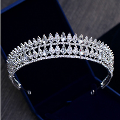 5cm High Clear CZ Crystal Large Wedding Bridal Party Pageant Prom Tiara Crown