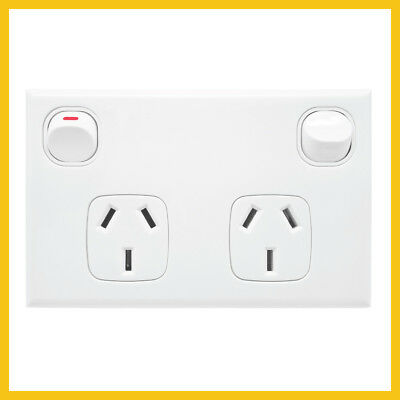 NEW Standard White Double Powerpoint GPO Socket Outlet Power Point 10 Amp