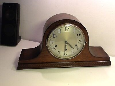 Pre WWll Napoleon Hat Style Oak Cased Mantel Clock ,Westminster Chiming