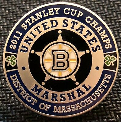 USMS - US Marshals Service BRUINS 2011 Stanley Cup Champs satin silver lapel Pin