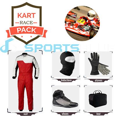 Go Kart Race suit(includes Suit, Gloves,Balaclava & Shoes)free bag- red n white