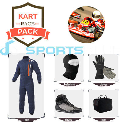 Go Kart Race suit(includes Suit, Gloves,Balaclava & Shoes)free bag- dark blue