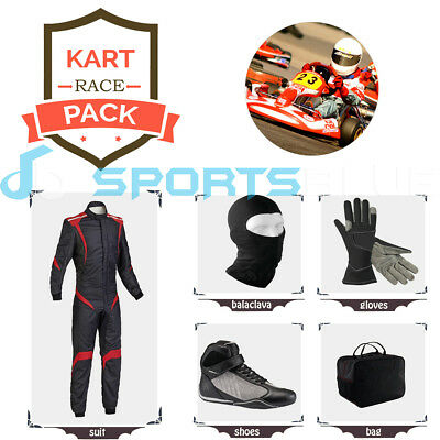 Go Kart Race suit(includes Suit, Gloves,Balaclava & Shoes)free bag- red stripes