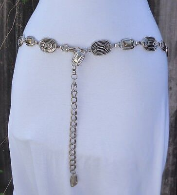 "Vintage Silver & Gold Tone Metal Textured Style Chain Belt  44"" long"