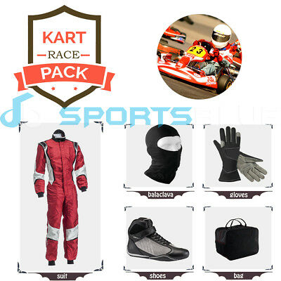 Go Kart Race suit(includes Suit, Gloves,Balaclava & Shoes)free bag- shinny red