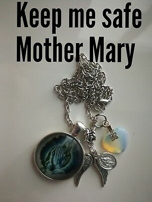 Code 867 Keep me safe Mother Mary Opalite heart Infused Necklace  Heaven Earth