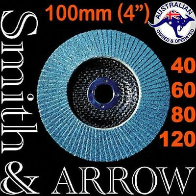 "100mm FLAP DISC ZIRCONIA 4"" WHEEL ANGLE GRINDER SANDING 40 60 80 # SMITH & ARROW"