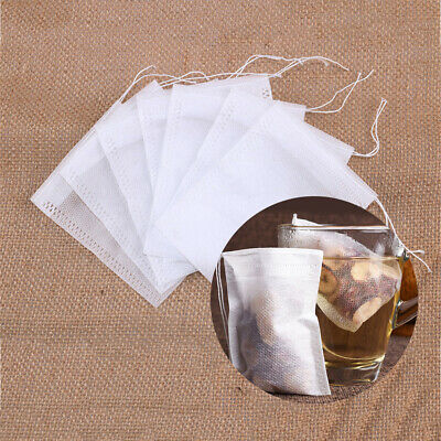 100x Non-woven Fabric White Empty Tea Bags String Heal Seal Filter Loose Teabags
