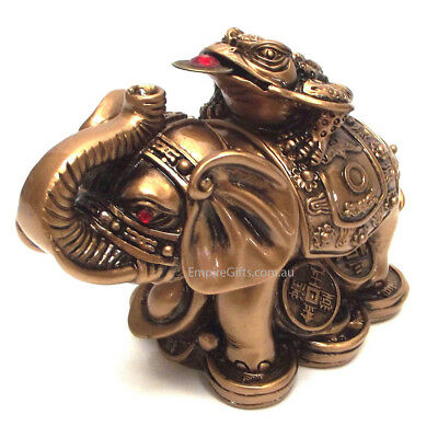 1pc Elephant Statue with Wealth Money Frog Gold 80mm Feng Shui