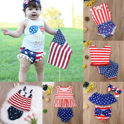 USA Baby Girl Boys 4th of July Patriotic Outfit US Flag Print Tops + TuTu Shorts