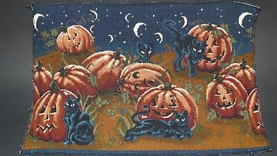Halloween Black Cats Pumpkin Patch Unfinished Tapestry Craft Fabric Place Mat