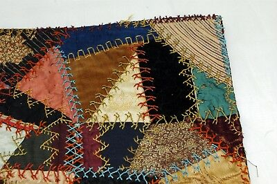 Antique Crazy Quilt Section Embroidered Stitching Study F8