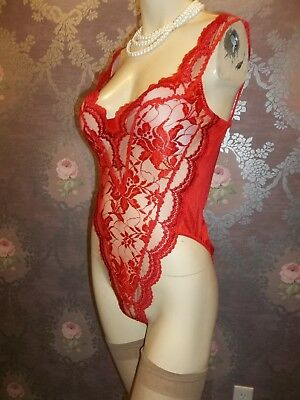 Vintage Teddy Romper Playsuit All-In-One LADY CAMEO Lace Bodysuit RED Lingerie M